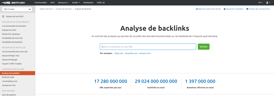 Analyse de backlinks sur SEMrush