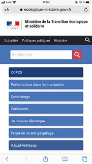 Capture d'écran du site ecologique-solidarite.gouv.fr sur mobile
