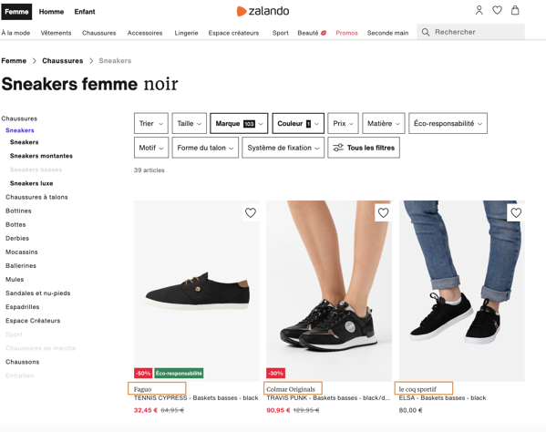 exemple de marketplace - Zalando