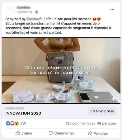 exemple dropshpping - publicité Facebook