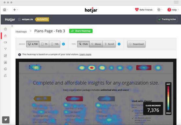 heatmap sur le site Hotjar