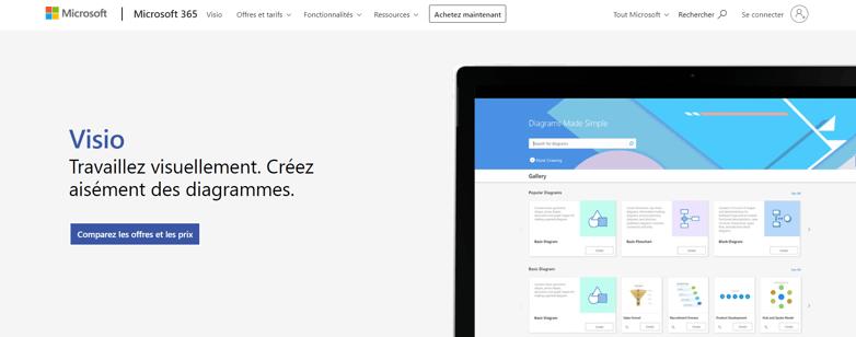 Page d'accueil de Microsoft Visio