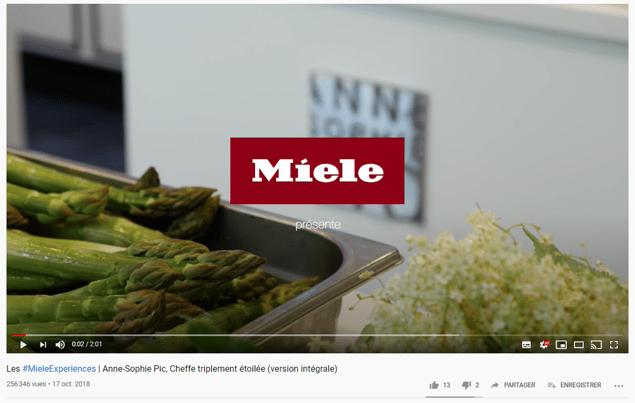 Vidéo YouTube de Miele en collaboration avec une cheffe étoilée