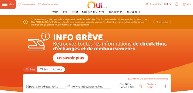 Capture d'écran du site OUI.sncf sur desktop