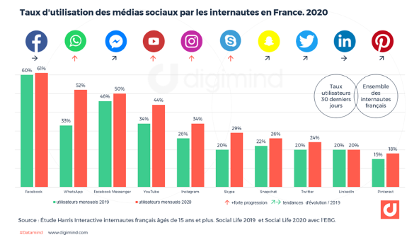 taux d'utilisation des médias sociaux en France en 2020