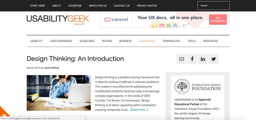 Capture d'écran d'Usability Geek