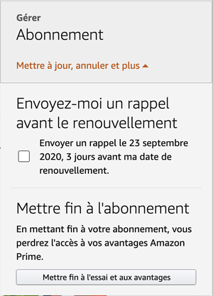 Exemple de dark pattern : Étape 1 de la désinscription Amazon Prime