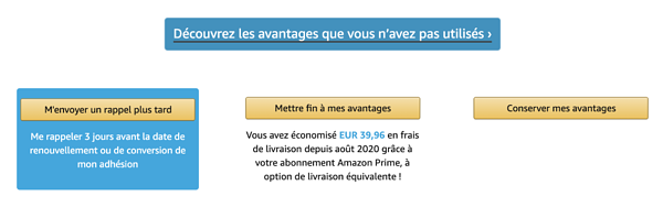 Exemple de dark pattern : Étape 2 de la désinscription Amazon Prime