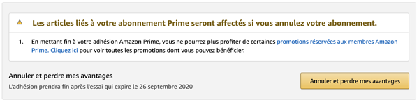 Exemple de dark pattern : Étape 4 de la désinscription Amazon Prime